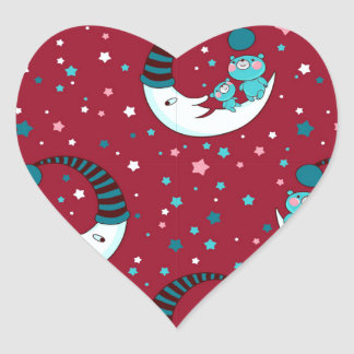 Red Christmas Pattern with the Moon and Bears Heart Sticker