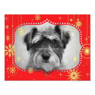 Red Christmas Photo Frame Gifts 4.25x5.5 Paper Invitation Card