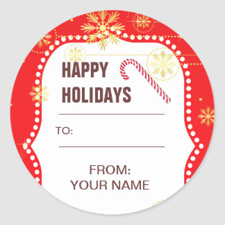 Red Christmas Photo Frame Gifts Round Stickers