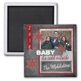 Red Christmas Photo in a Vintage Design Magnet