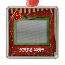 red christmas photo ornament