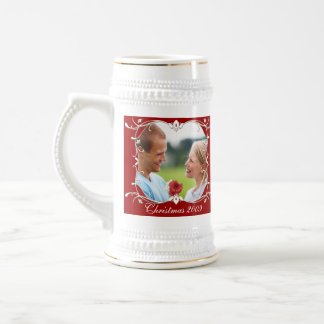 Red Christmas Photo Stein Wth Green Border