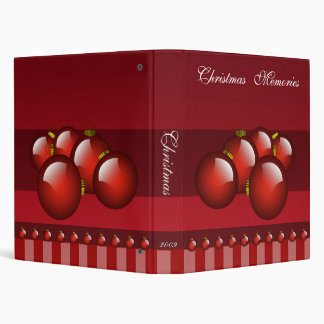 Red Christmas Photos Binder With Stripes