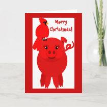 Red Christmas pig and cardinal, card