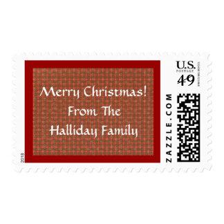 Red Christmas Plaid Winter Custom Postage Stamp