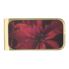 Red Christmas Poinsettia Photograph Gold Finish Money Clip