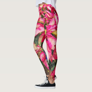 Red Christmas Poinsettia Picture Holiday Fashion Leggings