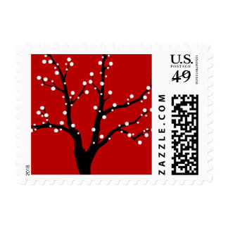 Red Christmas Postage Stamp