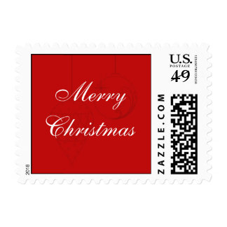Red Christmas Postage Stamp with Custom Text Stamp