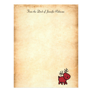 Red Christmas Reindeer Illustration Letterhead