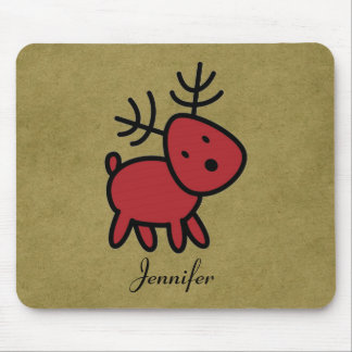 Red Christmas Reindeer Illustration Personalized Mouse Pad