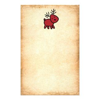 Red Christmas Reindeer Illustration Stationery