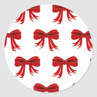 Red Christmas Ribbon Classic Round Sticker
