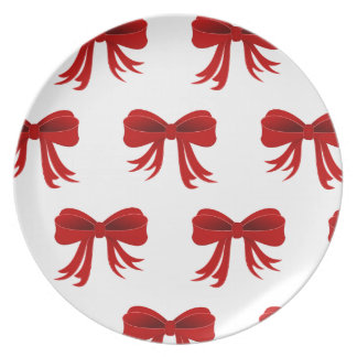Red Christmas Ribbon Plate
