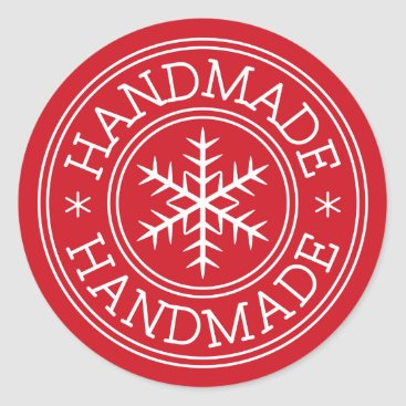Professional Business Red Christmas snowflake handmade Classic Round Sticker