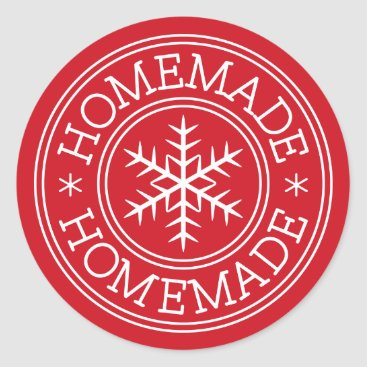 Professional Business Red Christmas snowflake homemade Classic Round Sticker
