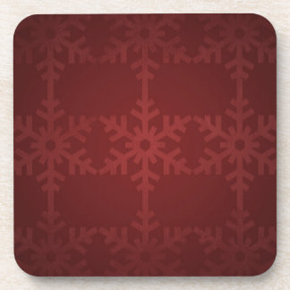Red christmas snowflake pattern coaster