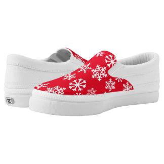 Red Christmas Snowflake Zipz Slipon Sneaker Printed Shoes