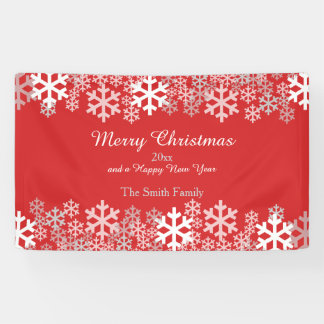 Red Christmas Snowflakes Pattern Greetings Banner