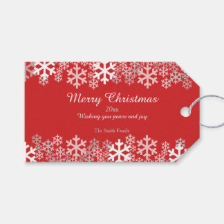 Red Christmas Snowflakes Pattern Greetings Pack Of Gift Tags