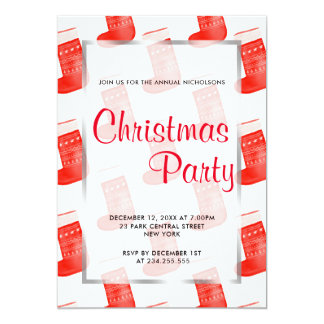 Red Christmas Socks Cute Pattern Holiday Party Card