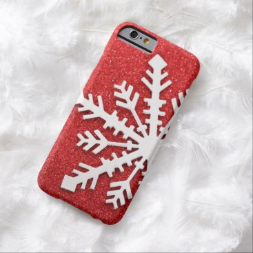 Christmas Themed Red Christmas Sparkles Barely There iPhone 6 Case