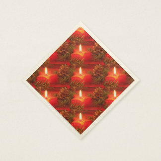 Red Christmas Star Candles Paper Napkins