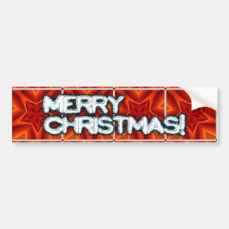 Red Christmas Star Pattern Car Bumper Sticker