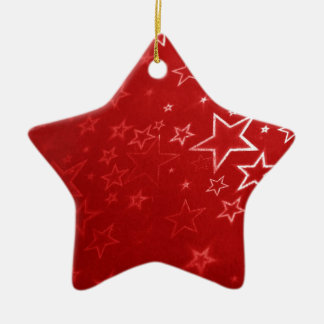 Red Christmas stars design Ceramic Ornament