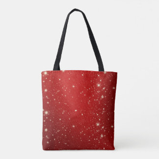 Red Christmas Stars Holiday Glitter Tote Bag