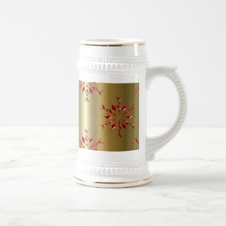 Red Christmas Stars on Gold Beer Stein