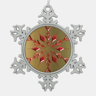 Red Christmas Stars on Gold Snowflake Pewter Christmas Ornament