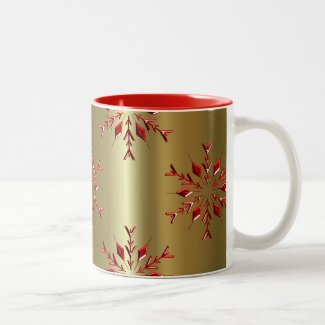Red Christmas Stars on Gold Two-Tone Coffee Mug