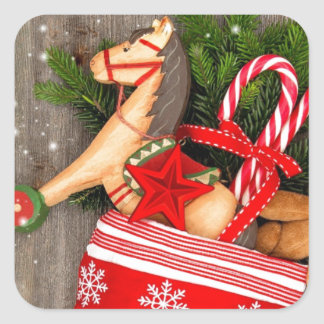 Red Christmas Stocking and Rocking Horse Square Sticker