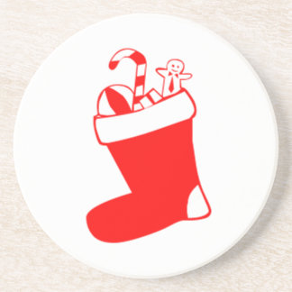 Red Christmas Stocking Beverage Coasters
