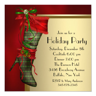 Red Christmas Stocking Red Gold Christmas Party Card