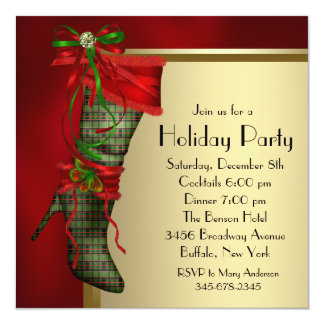 Red Christmas Stocking Red Gold Christmas Party Custom Invite