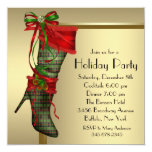 Red Christmas Stocking Red Gold Christmas Party 5.25x5.25 Square Paper Invitation Card