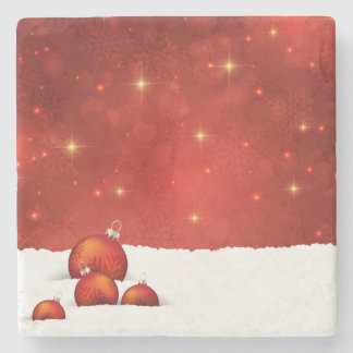 Red Christmas Stone Coaster