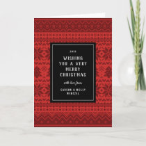 Red Christmas Sweater Patterned Holiday Card