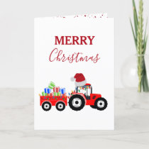 Red Christmas Tractor Truck Farm Holiday Card