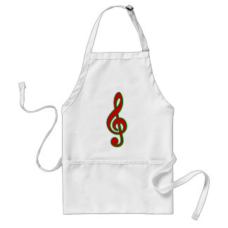 Red Christmas Treble Clef Adult Apron