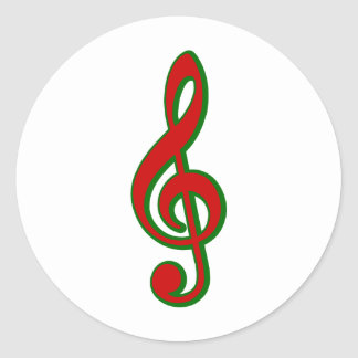 Red Christmas Treble Clef Classic Round Sticker