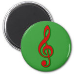 Red Christmas Treble Clef Fridge Magnets