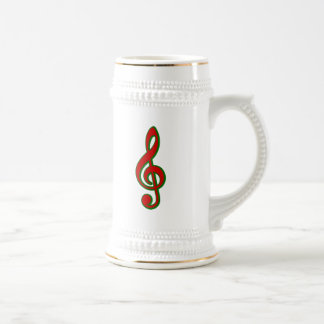 Red Christmas Treble Clef 18 Oz Beer Stein