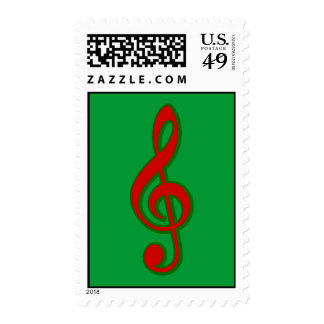 Red Christmas Treble Clef Postage Stamp