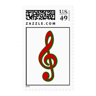 Red Christmas Treble Clef Postage Stamps