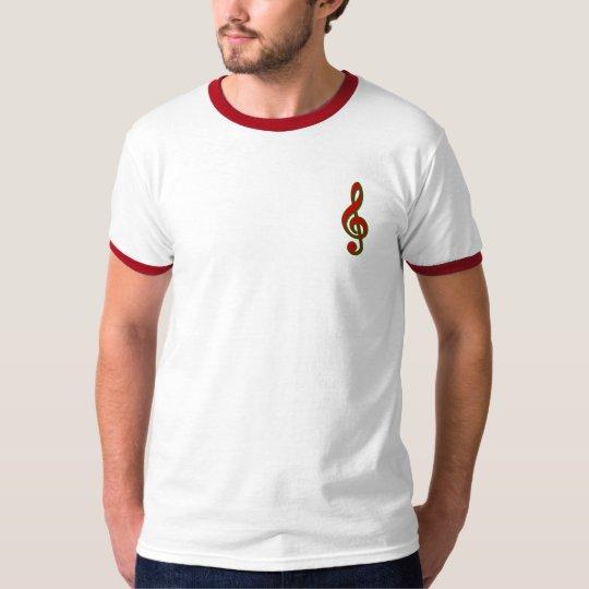Red Christmas Treble Clef T-Shirt