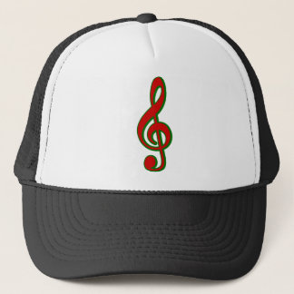 Red Christmas Treble Clef Trucker Hat