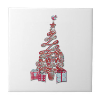 Red Christmas Tree and Birdy Tile